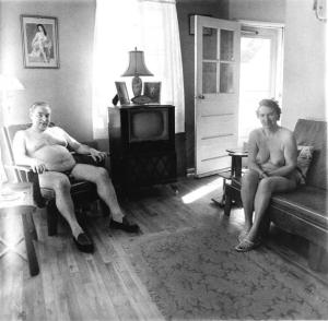 Nudist Colony in Front Room Diana Arbus